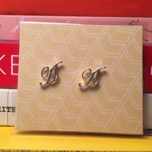 "Silver tone ""A"" initial stud earrings"